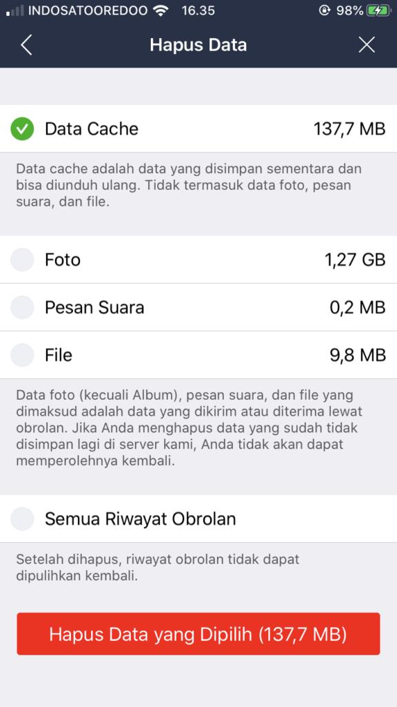 Hapus File Foto iPhone pada aplikasi LINE