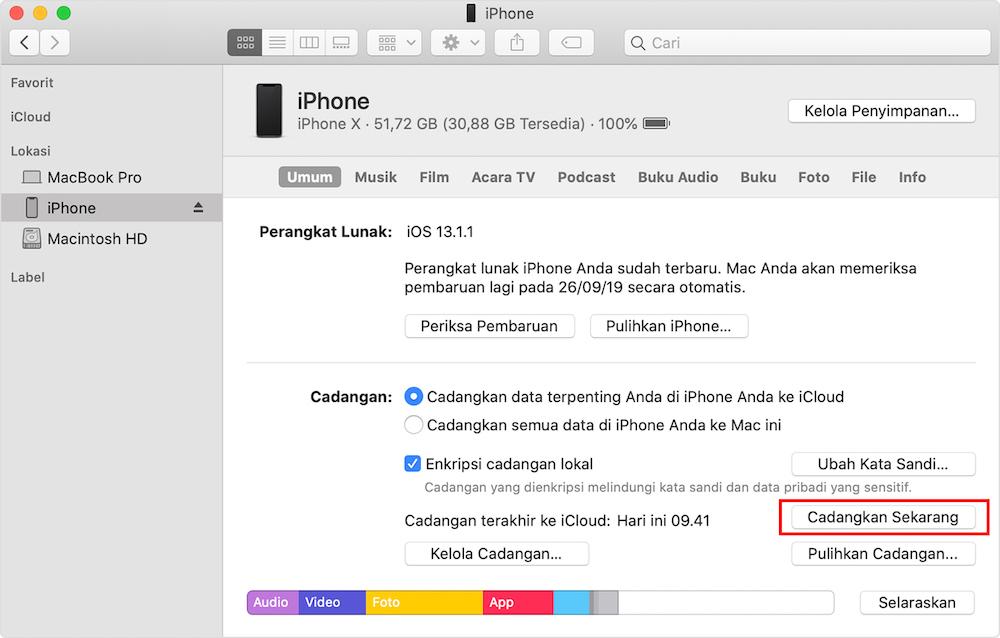 cara backup data iphone lewat iTunes