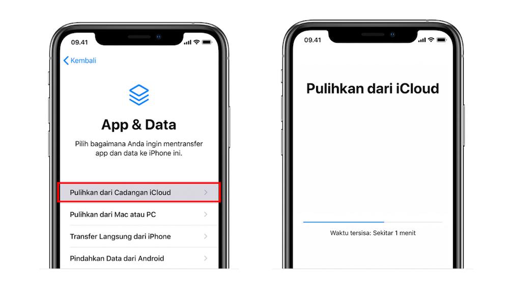 cara restore data iPhone lewat iCloud