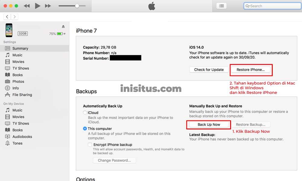 Cara Upgrade iOS pakai iTunes