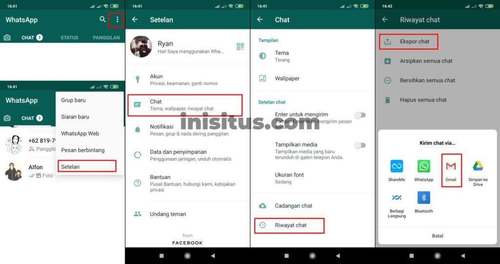 cara transfer chat WA dengan Email