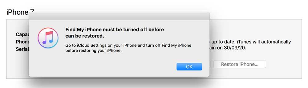 notifikasi mematikan find my iphone