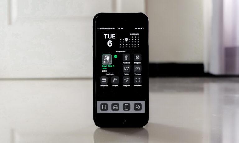 iOS 14 menggunakan icon pack slate grey
