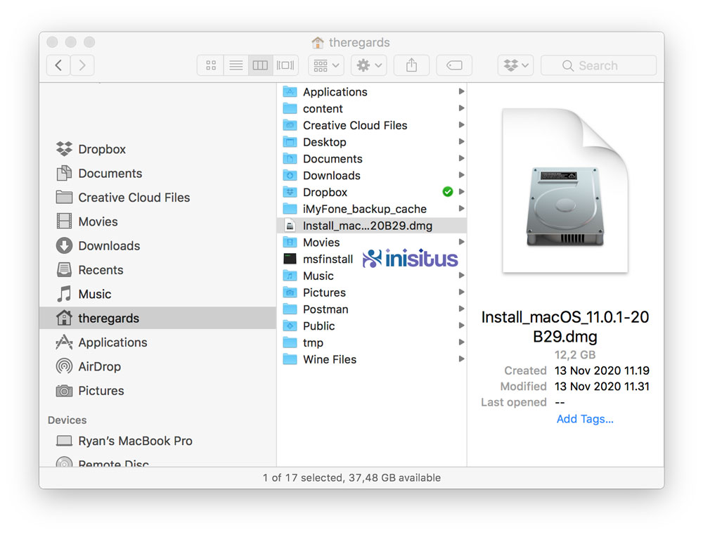 FIle Big Sur macOS full installer .dmg