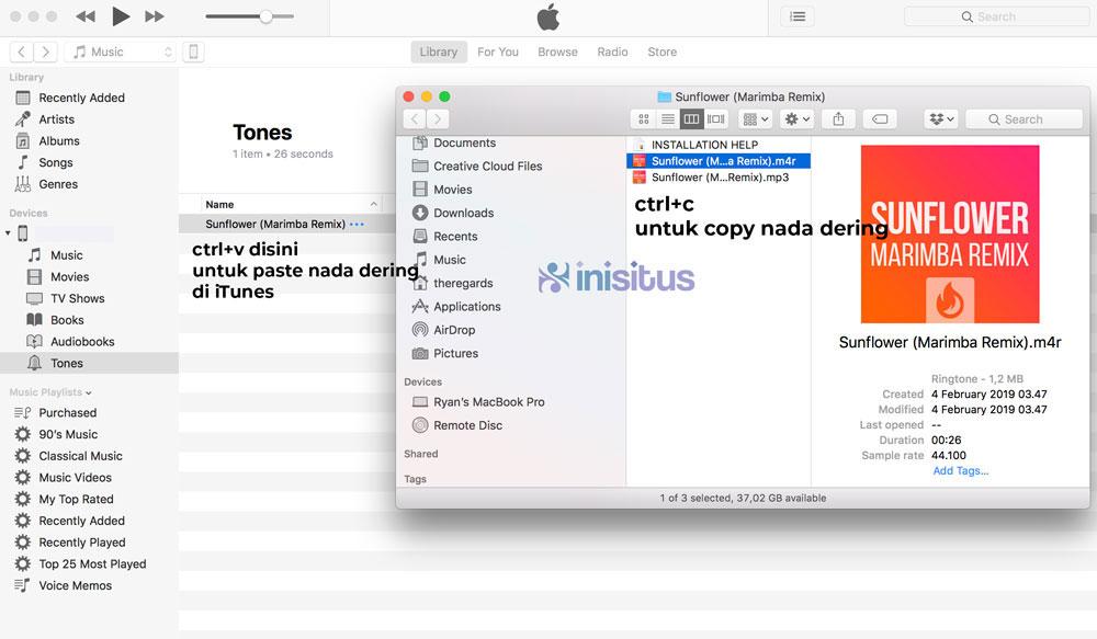 cara memasukkan nada dering iphone remix format mp3 di iphone