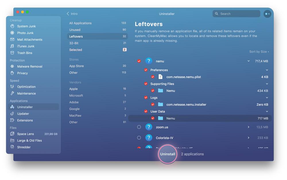 sisa sistem aplikasi mac